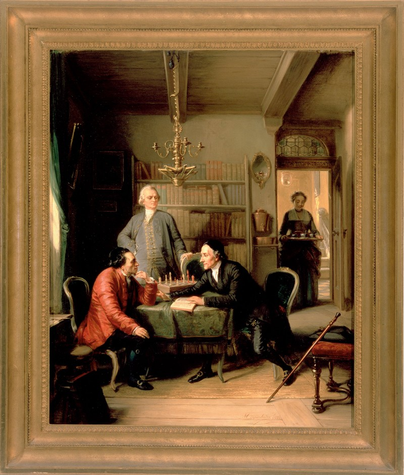 Fictional scene showing Lessing and Lavater as guests in the home of Moses Mendelssohn.  Moritz Daniel Oppenheim, 1856, © Judah L. Magnes Museum.