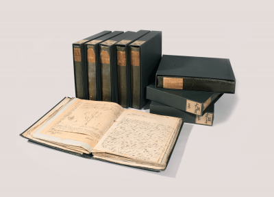 """The """"Green Books"""" by Arnold's grandfather Felix Mendelssohn Bartholdy, a unique collection of personal correspondence © Bodleian Library, University of Oxford."""