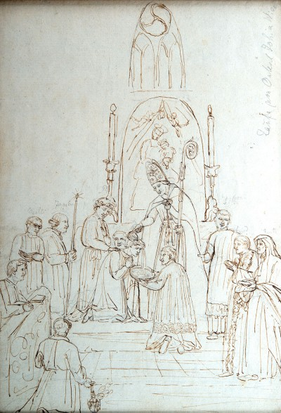 The baptism of Veit's elder brother Jonas, who was given the name Johannes.  Philipp Veit, 1810 © Private collection.